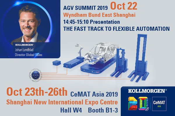 Meet Kollmorgen and learn about NDC Solutions at China AGV Summit & CeMAT Asia 2019