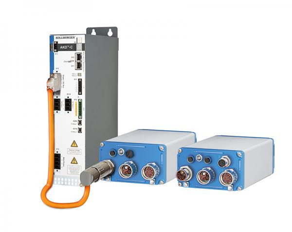 The combination of STO and single-cable connection enables streamlined installation with AKD-N servo drives from KOLLMORGEN arranged in a distributed setup.