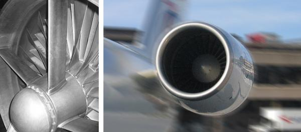 Lufteinlass eines Triebwerks mit kugelgestrahlten Schaufelblättern (links) und 16000 PS in Action (rechts).
