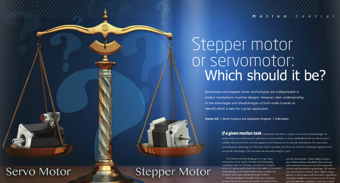 Stepper Motor or Servo? Check out the Design World April 2016 Edition