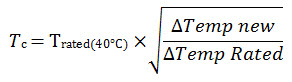 Temperature derating equation
